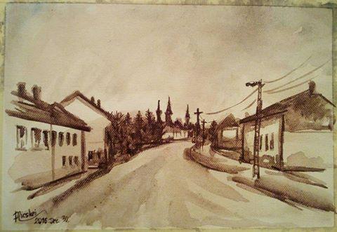 Naplemente Kölesden- akvarell- vászon-20x28 cm