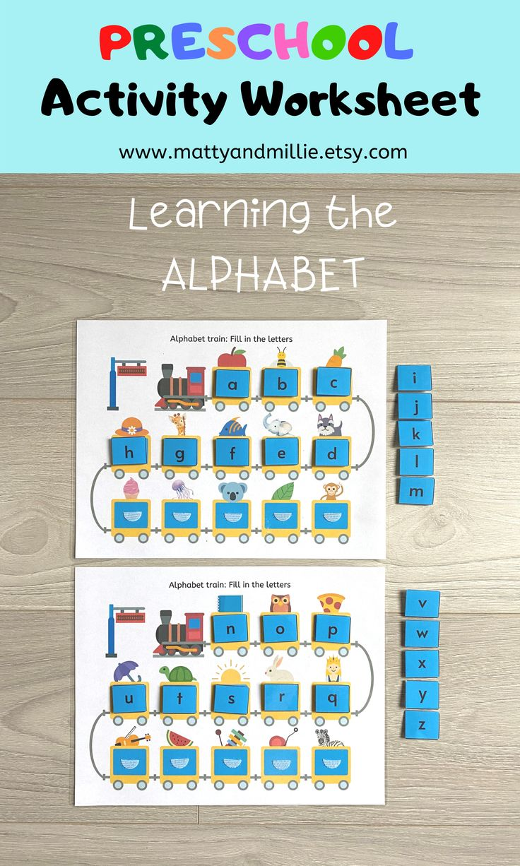 Alphabet Train Worksheet, Busy Book Pages, Preschool Busy