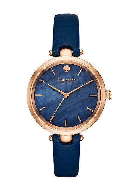 holland skinny strap watch, navy / rose gold
