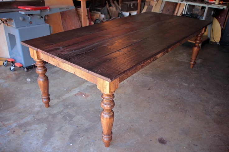 custom 12ft reclaimed wood farmhouse dining table for