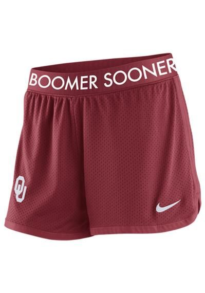 Oklahoma Sooners Shorts - Sooners Nike Womens Crimson Dri-Fit Mesh Shorts http://www.rallyhouse.com/college/oklahoma-sooners/a/womens/b/legwear?utm_source=pinterest&utm_medium=social&utm_campaign=Pinterest-OUSooners $34.00