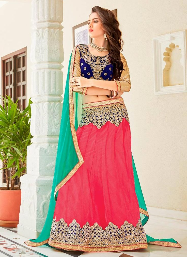 Buy Coral Pink Net Lehenga Choli online from the wide collection of a-line-lehenga. This Pink colored a-line-lehenga in Net fabric goes well with any occasion. Shop online Designer a-line-lehenga from cbazaar at the lowest price.