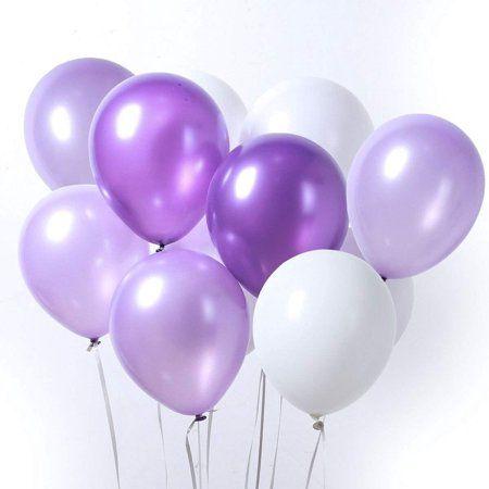 LAttLiv Purple & White Latex Balloons for Birthday Wedding Pa 12 Inch 100 Pcs Party, Baby Shower Decorations Graduation Decorations