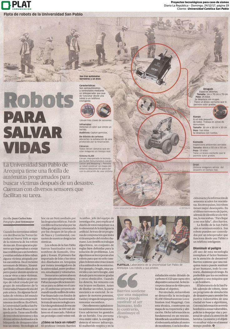 Universidad Católica San Pablo: Proyectos tecnológicos para caso de sismo en el diario La República de Perú (24/12/17)