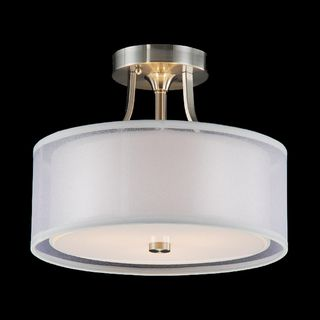 @Overstock - Give your home a sleek and modern update with this three-light flush-mount chandelier. This chandelier features a semi-transparent, off-white shade that gives off soft lighting. The chandelier is completed with a satin nickel finish.http://www.overstock.com/Home-Garden/Altea-3-light-Satin-Nickel-Flush-Mount-Chandelier/5574813/product.html?CID=214117 $94.49
