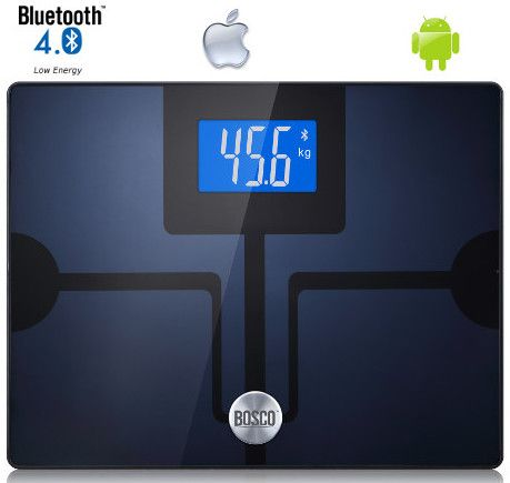 BOSCO bluetooth body scales. Measure up to 8 parameters, including: body mass, body fat, body water, BMI, bone mass, muscle mass, visceral fat, BMR