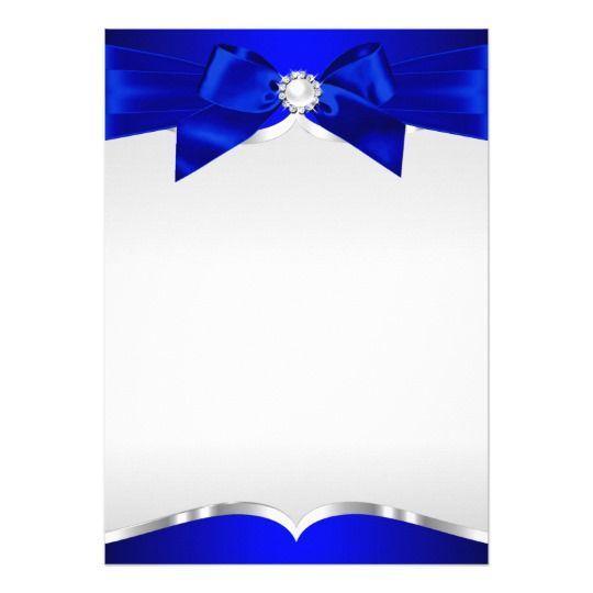 Royal Blue Silver Tiara Pearl Bow Quinceanera Card