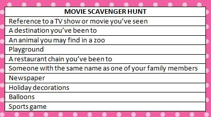 Free printable movie scavenger hunt - perfect for a family movie night! #ScavengerHunt #KidsActivities