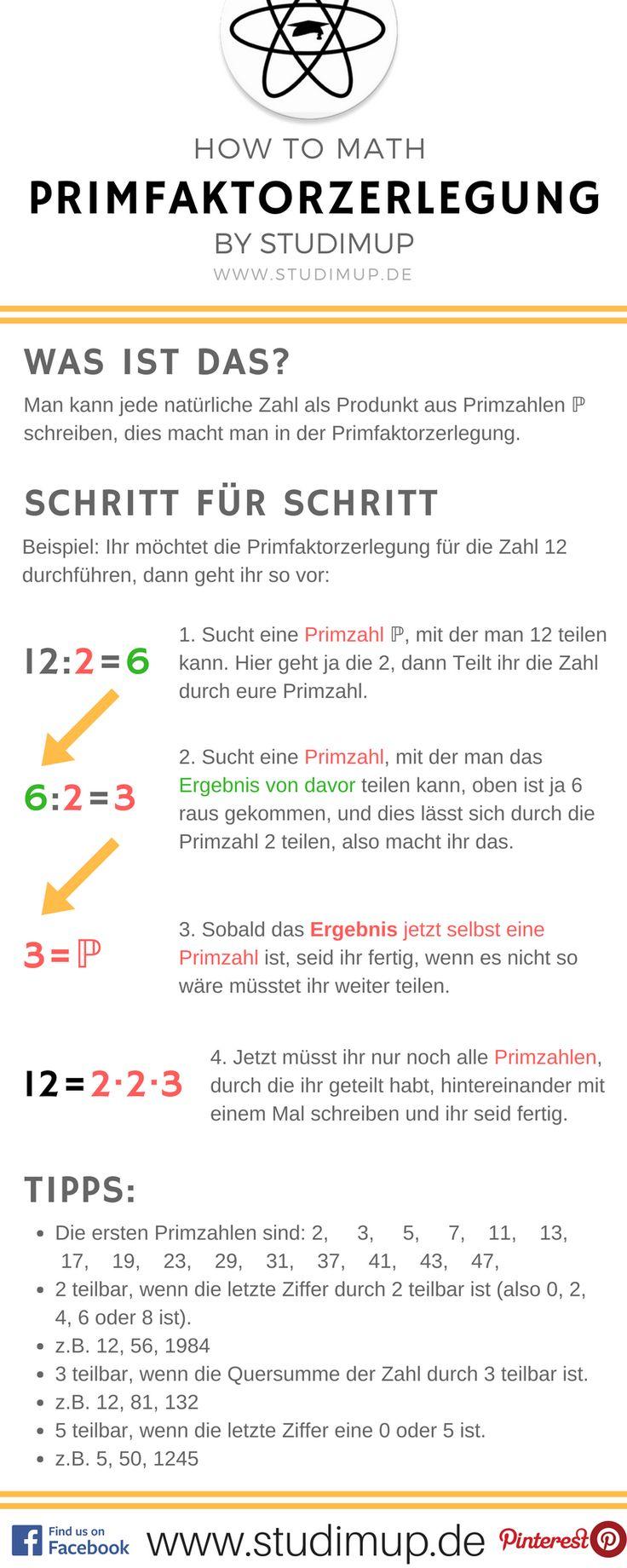 Die Primfaktorzerlegung einfach erklärt im Mathe Spickzettel von Studimup. Auf unserer Website findet ihr ausführliche Erklärungen.