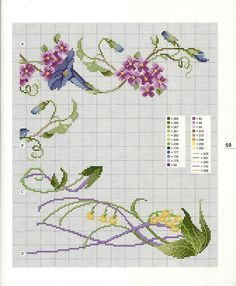 Flower corner cross stitch