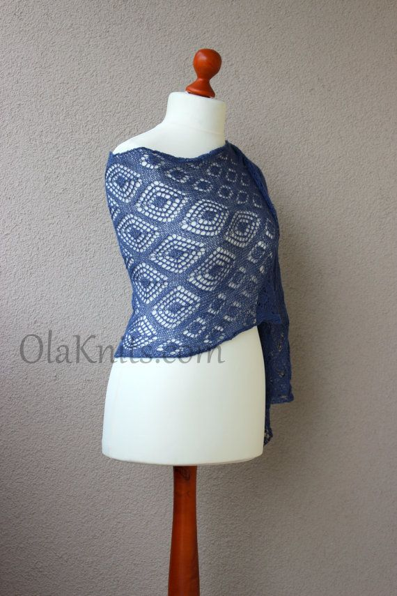 dark blue lacy stole hand knitted oversize scarf by OlaKnits