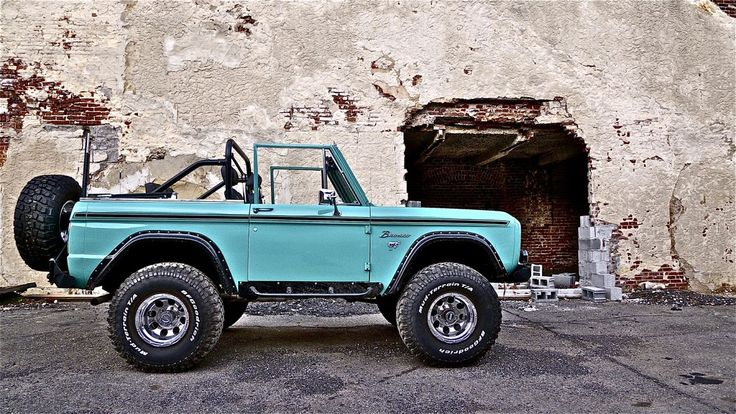 Beautiful Tiffany blue classic early ford bronco Herman the German's rig sporting Duff front and rear bumpers, flares and rocker guards