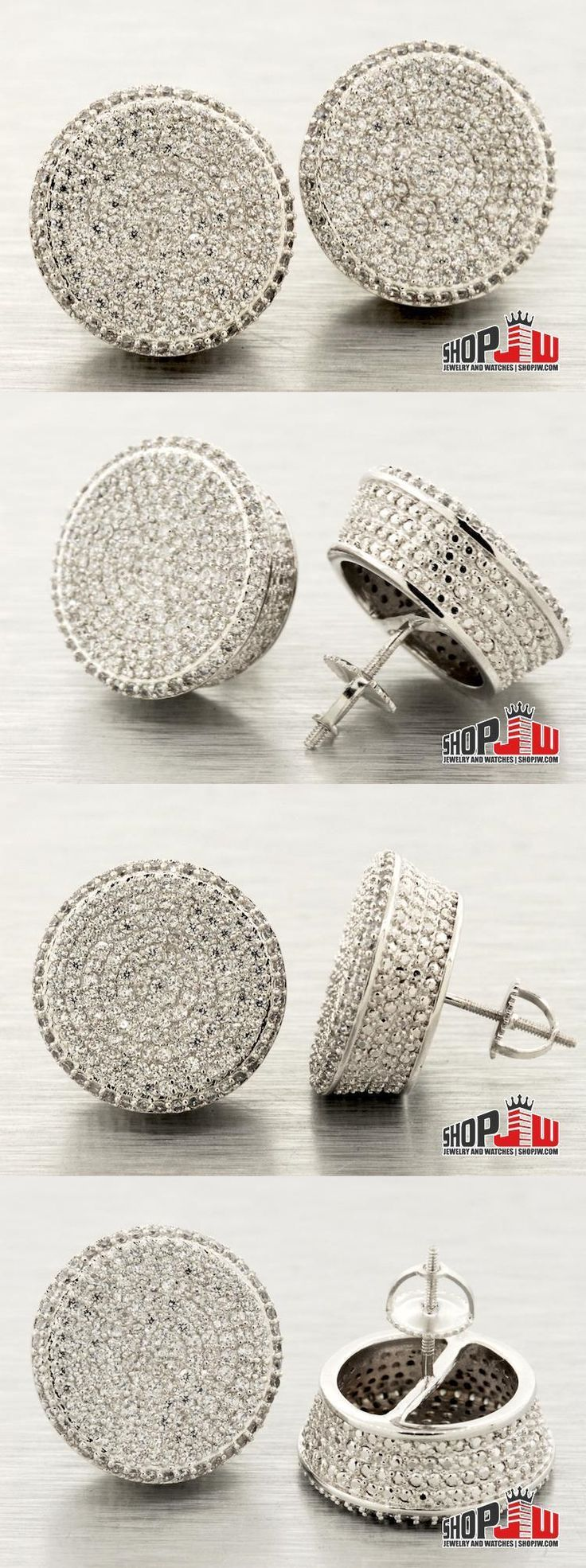 Earrings Studs 14085: Mens 14K White Gold Plated Screw Back Earrings 18Mm Round Style Iced Out Large -> BUY IT NOW ONLY: $30 on eBay!