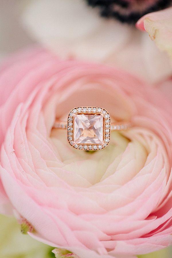 princess cut halo rose gold wedding engagement rings
