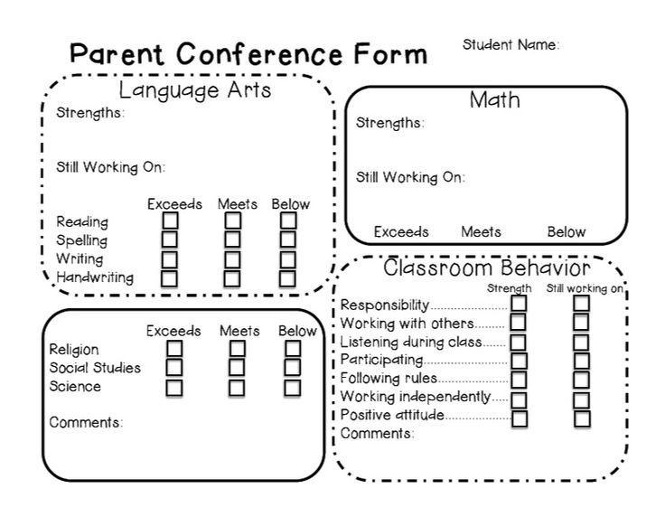 Parent Teacher Conference Form--need to modify, but it's still a cool template!
