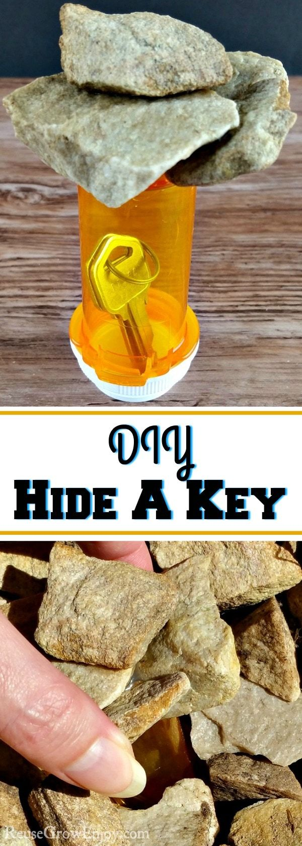 Everyone needs a safe place to stash a key for those times you lock or forgot yours. Check out this DIY Hide A Key - Made From RX Bottle!