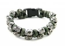 Olive Drab 550 Paracord Gun Metal Black Skull Bracelet Snake Knots - US Seller