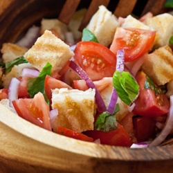 Grilled Cheese Panzanella Salad...a fun twist on the traditional summer panzanella, with mini grilled cheese croutons