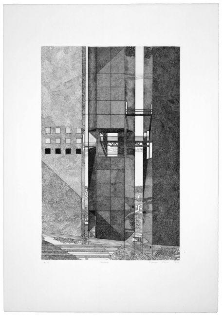 "Franco Purini, Insieme, 1977, Acquaforte - acquatinta su carta Rosaspina, 70x50 cm, ciclo ""Pareti. 1977: sette incisioni"" #sketch"