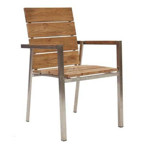Stainless Steel Teak Stacking Arm Dining Chair