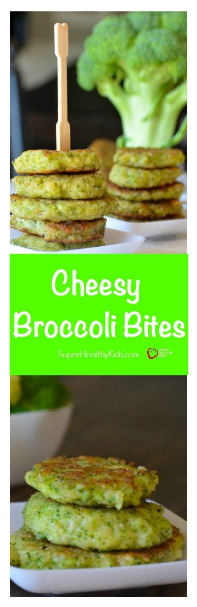 Cheesy Broccoli Bites Recipe. Dinner side dish or snack! Great way to get kids to ask for more broccoli! http://www.superhealthykids.com/cheesy-broccoli-bites/