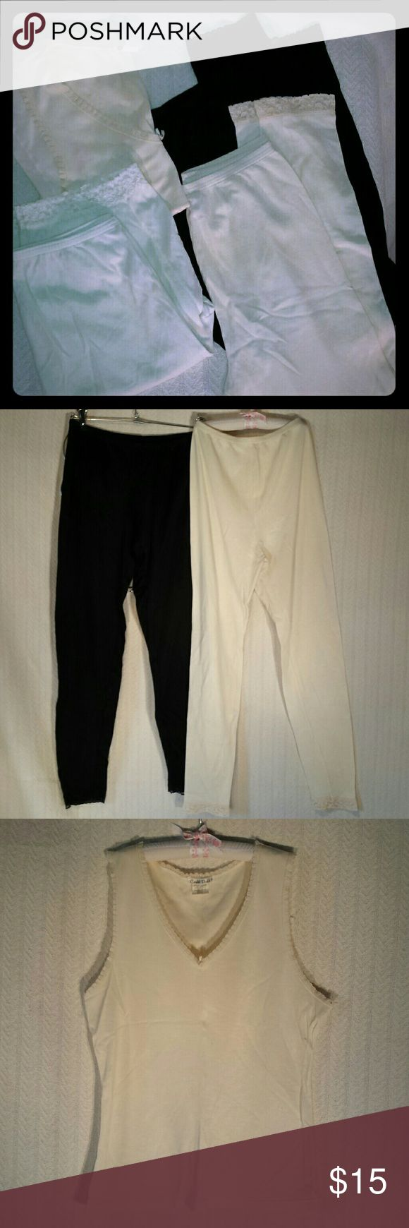 Cuddl Duds Bundle Four piece Cuddl Duds bundle.  Great for layering in cold weather.  Black leggings with lace cuff. 8 inch rise with 26 inch inseam.  55% nylon & 45% cotton.  Cream leggings with lace cuff.  11 inch rise with 26 inch inseam.  50% nylon & 50% cotton.  Minor pilling.  Cream tank top with ruffles and bow.  50% nylon & 50% cotton.  Minor pilling.  Cream shorts with lace cuff.11 inch rise with 9 nch inseam.  50% nylon & 50% cotton.  Minor pilling. Cuddl Duds Intimates & Sleepwear