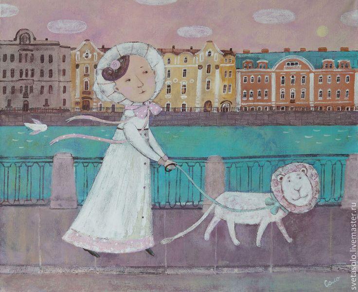 Купить Прогулка вдоль Фонтанки - кремовый, Петербург, город, домики, лев, девушка, барышня, птичка