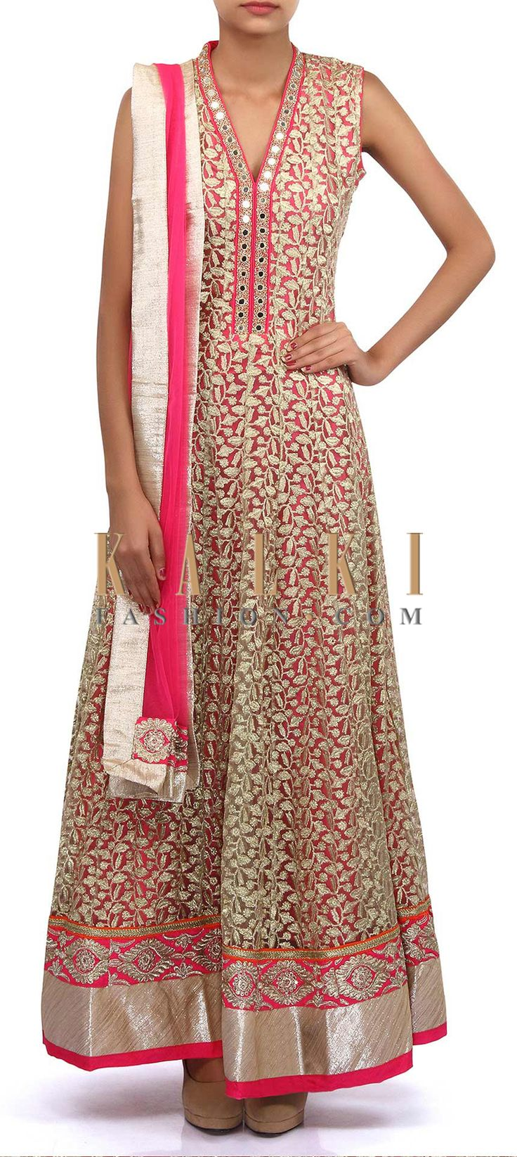 Buy Online from the link below. We ship worldwide (Free Shipping over US$100). Product SKU - 305589.Product Link - http://www.kalkifashion.com/gold-anarkali-suit-adorn-in-zari-and-mirror-embroidery-only-on-kalki.html