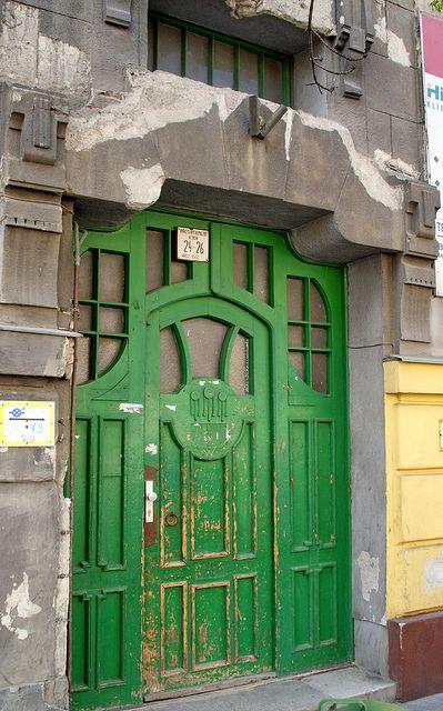 The green Art Nouveau door - Budapest