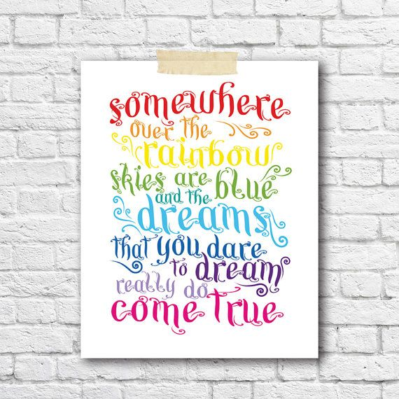 Somewhere Over The Rainbow Song Print Bright Nursery Decor Kids Room Wall Art Boys Girl Nursery Prints Modern Kids Room Lyrics Wall Print