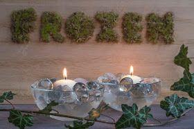 Letters met mos en kaarsen met ijs als decoratie - Diy decoratie -    ElsaRblog