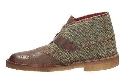 Mens Originals Boots - Desert Gent in Brown Tweed Combi from Clarks shoes