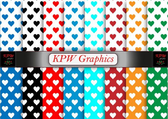 Beautiful Hearts Digital Printable Scrapbook Papers by KPWgraphics