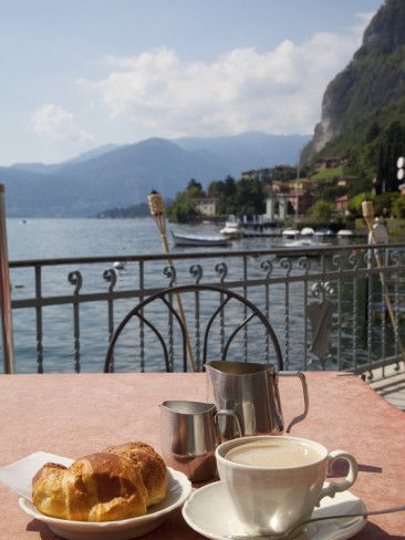 Lakeside Cafe, Italy.....there's a hundred places like this to have a great cup of coffee... so very beautiful...