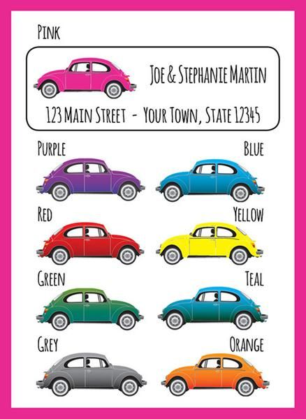 VW Bug Style Car Personalized Return ADDRESS Labels