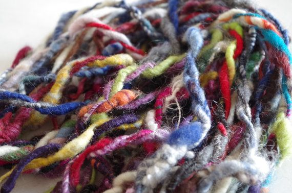 Handdyed corespun 2-ply artyarn ALL IN ONE great for by Fiberro