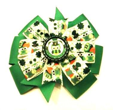 St Patrick's Day Hair Bow  Owl Hair Bow  by CCSBOWTIQUE2010