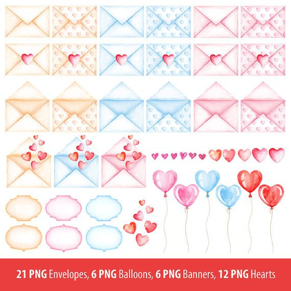 126 best valentines hearts clipart images on pinterest clip watercolor love message heart envelope valentines day digital prints planner stickers invitation post card hand painted graphic png m4hsunfo Gallery