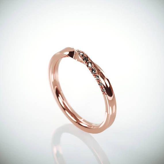 ✿ DAS JUWEL Handgemachte solide 14k rose gold Mobius Hochzeitsring set mit 13 schwarze Diamanten. Ehering ist ein Schmuckstück, die Sie am meisten zu tragen. Daher sollte das Design zusammen mit allem gehen, die Sie tragen, aus einem Cocktail-Kleid zu Ihrer lässigen Outfit. Diese Hochzeit