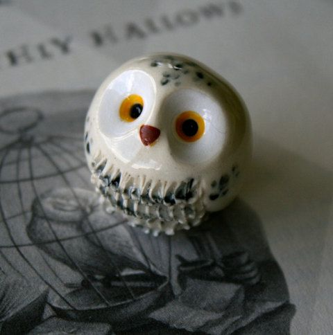 Hedwig the Snowy Clay Owl Harry Potter Inspired Owlery Miniature