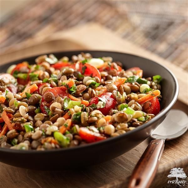 This Southwestern Sprouted Lentil Salad made with truRoots®️ Organic Sprouted Green Lentils makes a tasty side dish for Meatless Monday! It's made with a combination of cumin, olive oil, lime, garlic, salt and pepper whisked together. Add lentils, tomatoes, carrots, green onions, cilantro and jalapeno and toss together. Chill in the refrigerator to let the flavors blend!