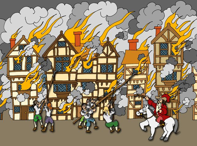 Image result for the great fire of london cartoon