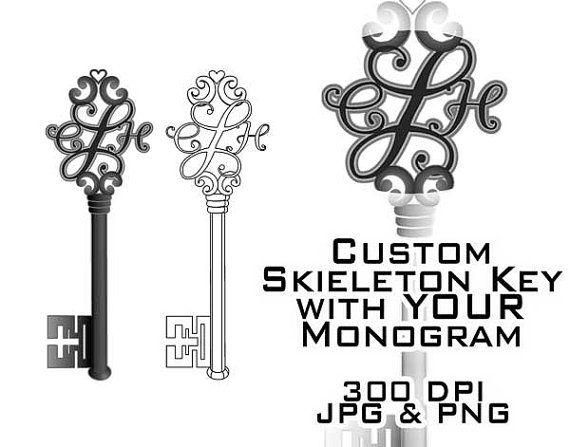 Skeleton Key Monogram Clipart - Custom Digital Clip Art - Download Downloadable
