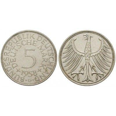 Bundesrepublik Deutschland, 5 DM 1958, G, vz-st, J…