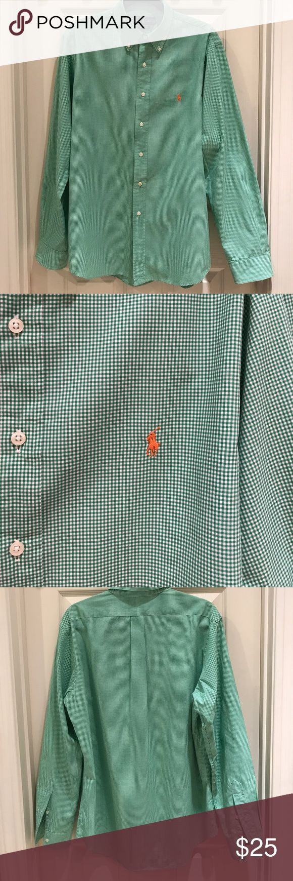 Men's Ralph Lauren button down collar dress shirt Ralph Lauren 100% cotton button down green check with orange polo dress shirt Ralph Lauren Shirts Casual Button Down Shirts