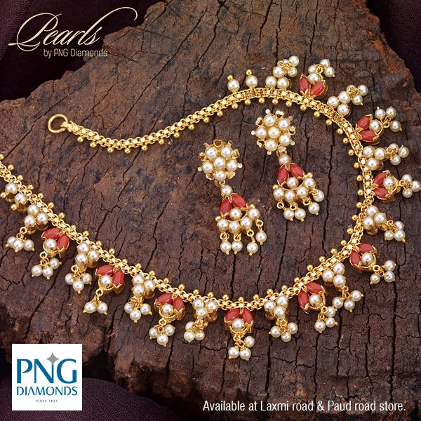 A beautiful #Pearl and #Coral necklace in gold. You can wear it both ways. Two looks in one design. Check it out at our Laxmi road and Paud Road store.
