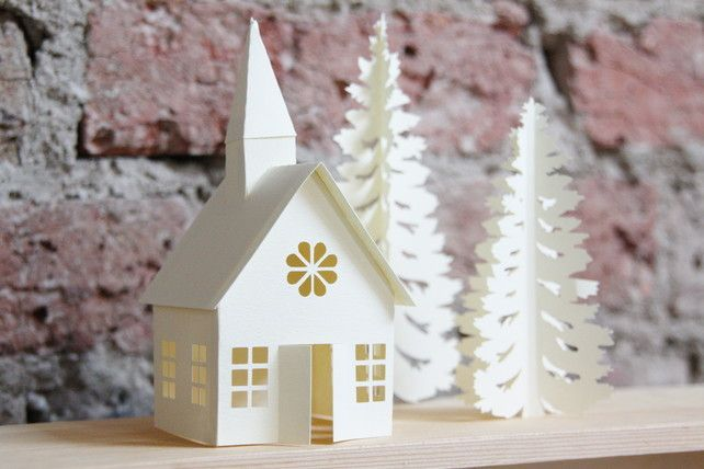 Winter Christmas village paper decoration, 3D paper church with Christmas tree £10.00