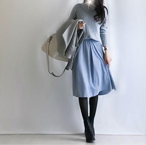 【coordinate】GU水色スカートで親子リンクコーデ/寝相アート の画像|Umy's プチプラmixで大人のキレイめファッション