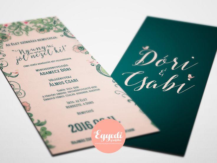 Zöld-rózsaszín virágos meghívó | Rustic Floral Wedding Invitation Card