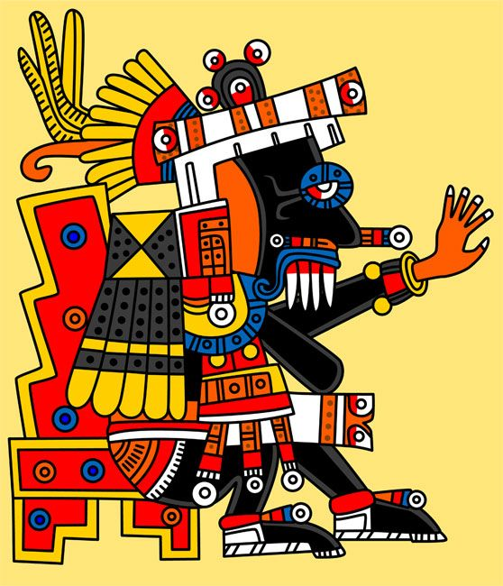 Tlaloc: 'He Who Makes Things Sprout'. God of rain, lightning and thunder. He is a fertility god, but also a wrathful deity, responsible for both floods and droughts. Tlaloc has goggle eyes and large jaguar teeth and resides in mountain caves. In Aztec times he was so important that he had a special shrine on top of Mt. Tlaloc and he shared the Great Temple of Tenochtitlan with Huitzilopochtli.